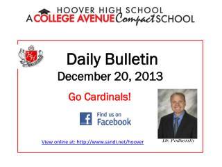 Daily Bulletin December 20, 2013
