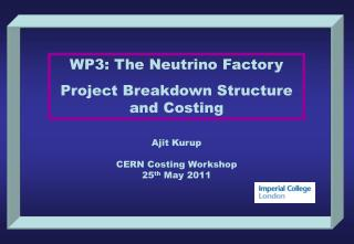 WP3: The Neutrino Factory Project Breakdown Structure and Costing