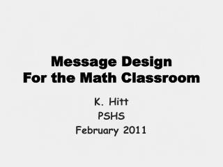 Message Design For the Math Classroom