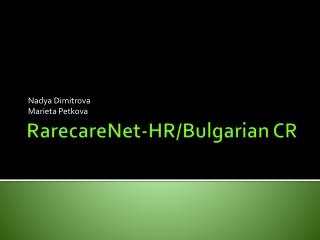 RarecareNet -HR/Bulgarian CR