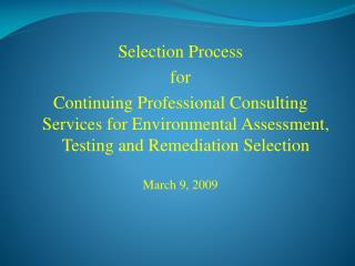 Selection Process for