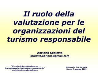 Il ruolo della valutazione per le organizzazioni del turismo responsabile