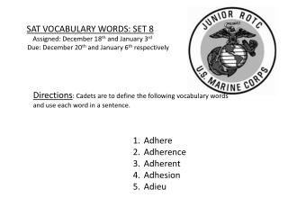 SAT VOCABULARY WORDS: SET 8 Assigned:  December 18 th  and January 3 rd