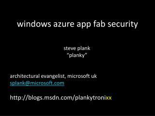 windows azure app fab security