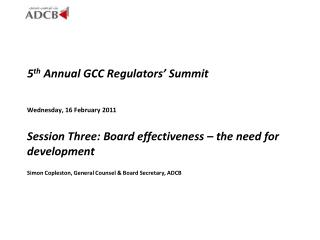 5 th  Annual GCC Regulators� Summit