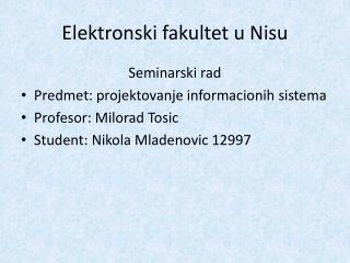 Elektronski fakultet  u  Nisu