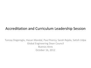 Accreditation and Curriculum Leadership Session