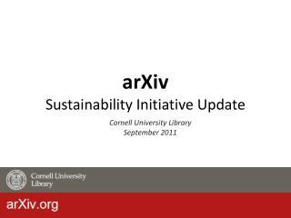 arXiv Sustainability Initiative Update