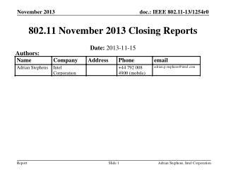 802.11 November 2013 Closing Reports