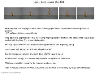 Legs – Jump Lunges (Gun Drill)