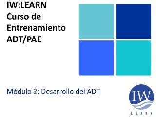 IW:LEARN Curso  de  Entrenamiento ADT/PAE