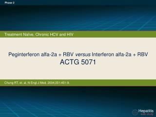 Peginterferon alfa-2a +  RBV  versus  Interferon alfa - 2a + RBV  ACTG 5071