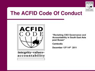 The ACFID Code Of Conduct