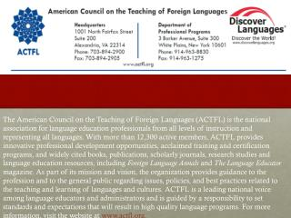 ACTFL and The World Languages Profession