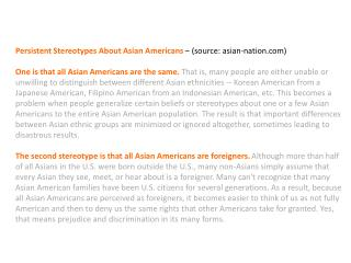 Persistent Stereotypes About Asian  Americans  – (source:  asian-nation )