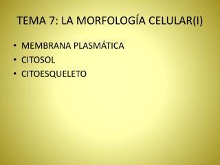 TEMA 7: LA MORFOLOGÍA CELULAR(I)