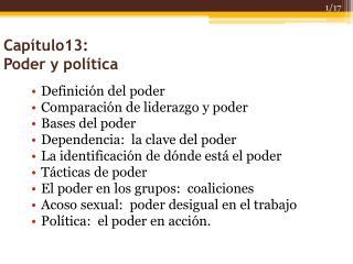 Cap � tulo13: Poder y pol�tica