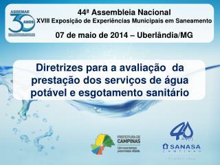 Diretrizes para a avaliação  da prestação dos serviços de água potável e esgotamento sanitário