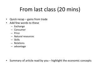 From last class (20  mins )
