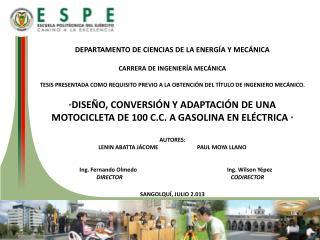DEPARTAMENTO  DE CIENCIAS DE LA ENERGÍA Y MECÁNICA CARRERA DE INGENIERÍA MECÁNICA