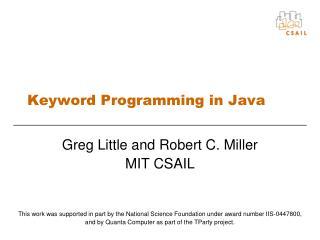 Keyword Programming in Java