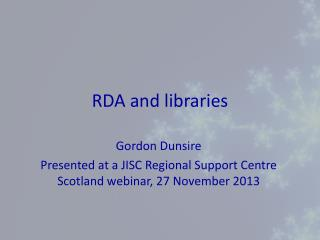 RDA and libraries