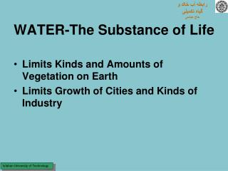 WATER-The Substance of Life