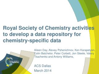 Royal Society of Chemistry activities to develop a data repository for chemistry-specific data