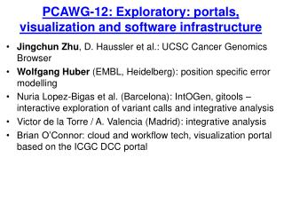 PCAWG-12: Exploratory: portals, visualization and software infrastructure