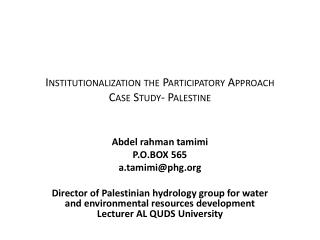 Institutionalization the Participatory Approach Case Study- Palestine