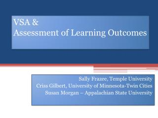 VSA &  Assessment of Learning Outcomes