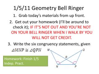 1/5/11 Geometry Bell Ringer
