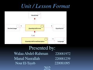 Unit / Lesson Format