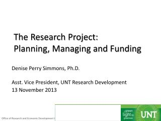 The Research Project: Planning, Managing and Funding