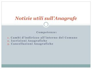 Notizie utili sull Anagrafe