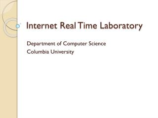 Internet Real Time Laboratory