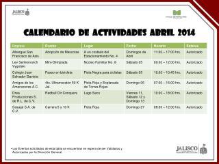 CALENDARIO  DE  ACTIVIDADES  Abril  2014