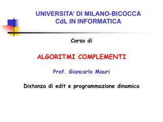 UNIVERSITA' DI MILANO-BICOCCA CdL IN INFORMATICA