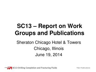 SC13 – Report on Work Groups and Publications