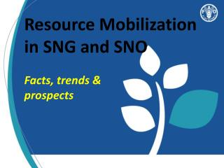 Resource Mobilization in SNG and SNO Facts, trends &  prospects