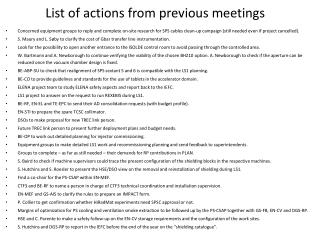 List of actions from previous meetings