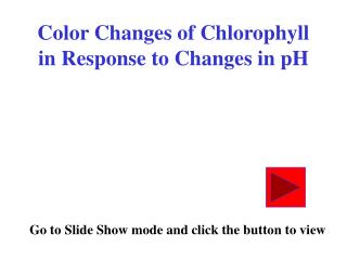 Color Changes of Chlorophyll in Response to Changes in pH