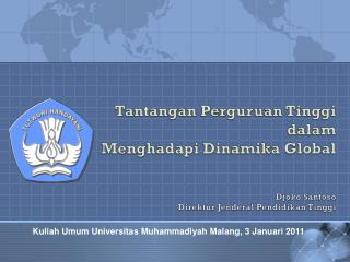 Pengenalan Studi Mahasiswa Baru Universitas  Muhammadiyah  Malang, 1 September 2010