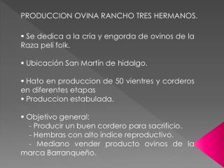 PRODUCCION OVINA RANCHO TRES HERMANOS.