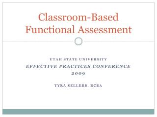 Classroom-Based Functional Assessment