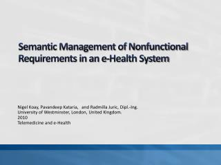 Semantic Management of Nonfunctional Requirements in an e-Health System