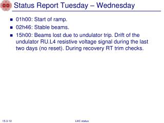 Status Report Tuesday – Wednesday
