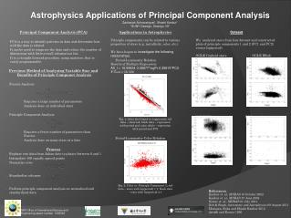 Astrophysics Applications  of  Principal  Component Analysis