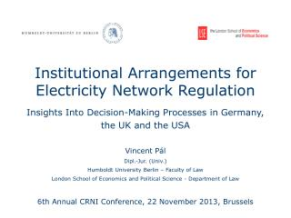 Institutional Arrangements for Electricity Network Regulation