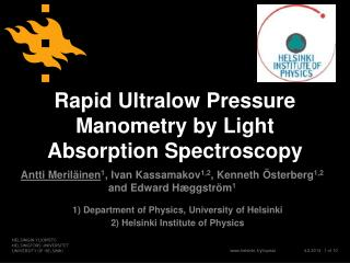 Rapid Ultralow Pressure  Manometry  by Light Absorption Spectroscopy